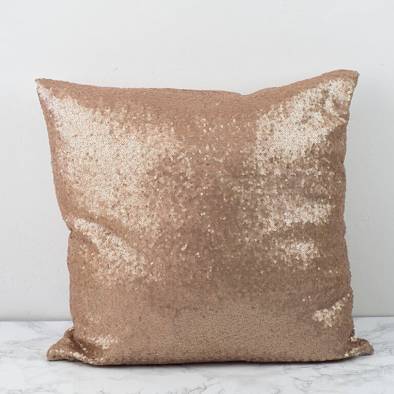 rose gold sequins pillow