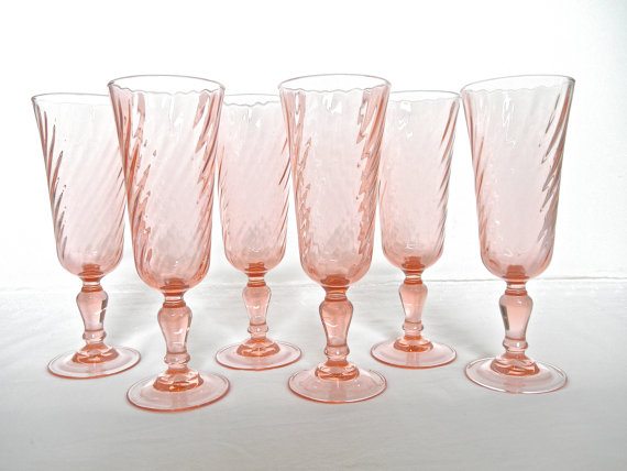 French Swirl Pink Glassware | Trunks & Tales | Event ...